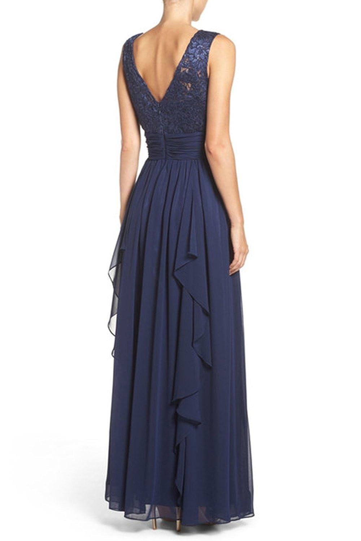 Eliza J Lace & Chiffon Gown, Navy, 6 at Amazon Women\'s Clothing store: