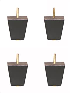 Sustainable Things 2 1/2 Inch Black Finish Square Tapered Pyramid Wooden  Sofa Legs,