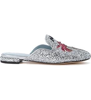 ca0a51917994 Chiara Ferragni Collection Women's Chiara Ferragni Suite Silver Glitter  Mules