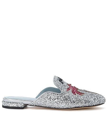 e5bbd93e7f7c Chiara Ferragni Suite Silver Glitter Mules, Size UK: Amazon.co.uk ...