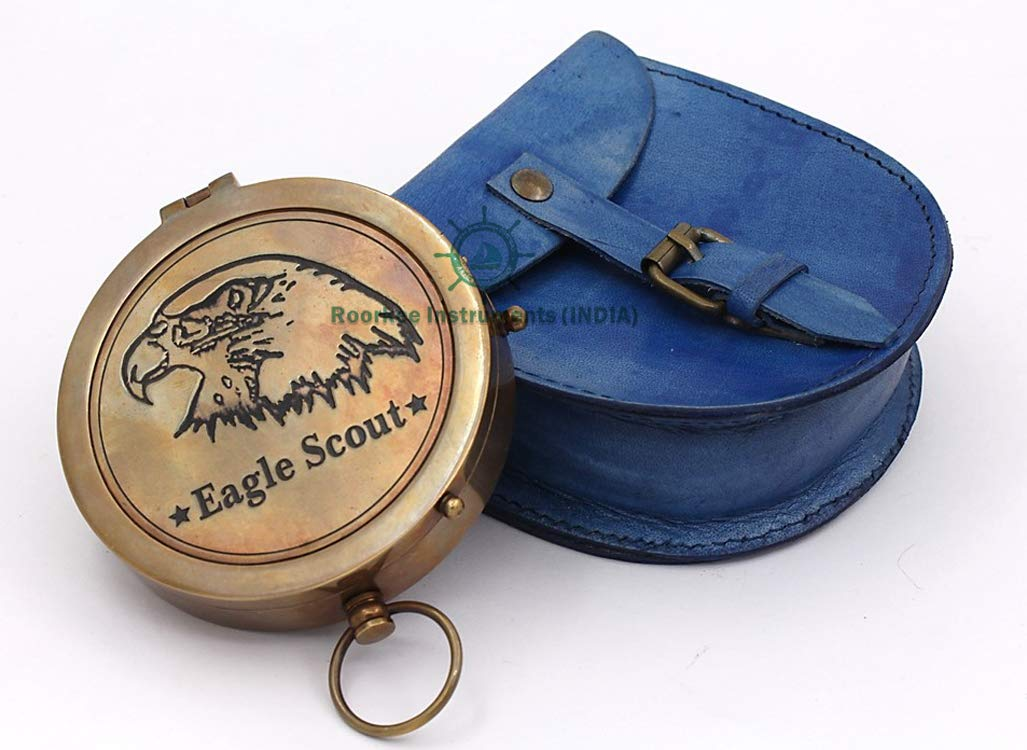 Neovivid Thoreaus Go Confidently Quote Engraved Compass with Stamped Leather case