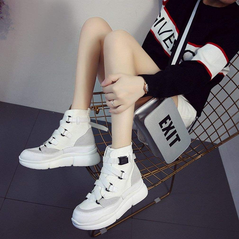 GODIWAN Woman Sneakers High Top Front Bandage Belt Female Fashion Footwear Platform White Casual Canvas Shoes