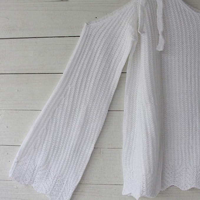 Luckycat 75/5000 Las Mujeres del Invierno del Hombro del suéter de Punto sólido suéter Remata la Camiseta de la Blusa (Blanco): Amazon.es: Ropa y accesorios