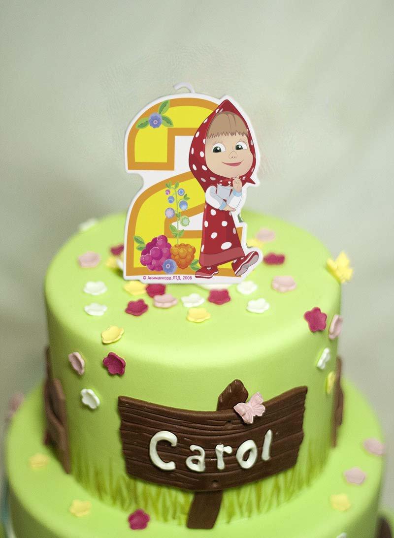 сandle sobre una decoración para tarta para 2 años ...