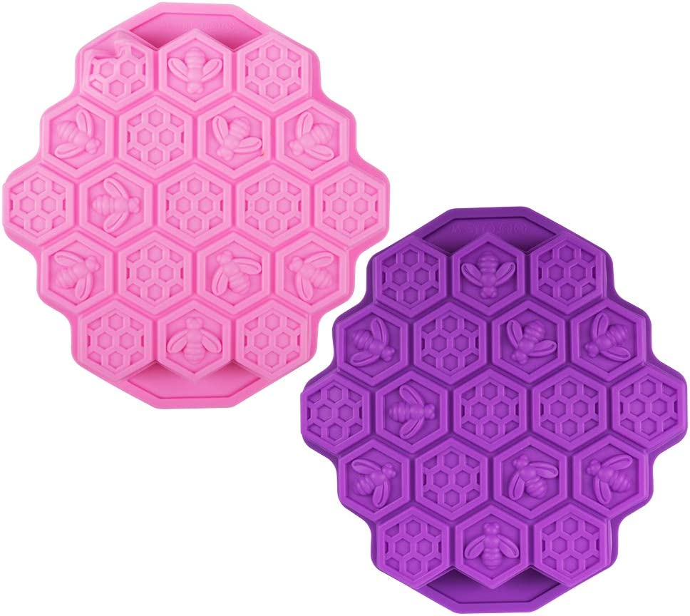 2 Pcs 19 Cavities Honeycomb Silicone Cake Molds FineGood Muffin Cookie Baking Pan Candy Soap Making Divided Moulds-Pink & Purple