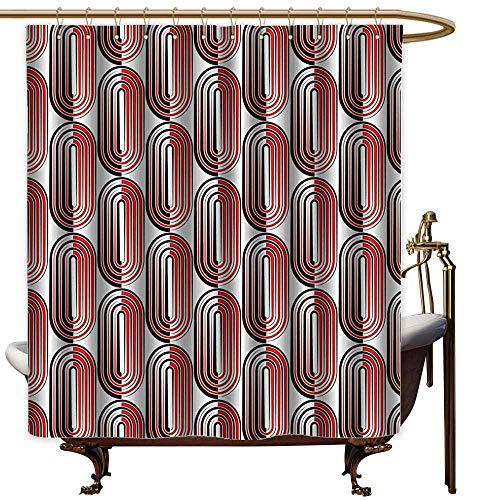 Home Decor Shower Curtain,Modern Art Ellipse Curves Surrounded Focal Points Mathematical Education Modern Motif,Shower Curtain with Hooks,W36x72L,Vermilion White Arc Ellipse 2 Light