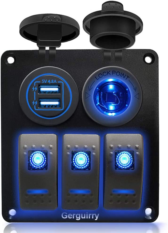 Gerguirry 3/4 / 6 Gang Waterproof Marine Boat Rocker Switch Panel with Blue/Red LED Backlight for Car SUV Marine RV Truck Camper Boat