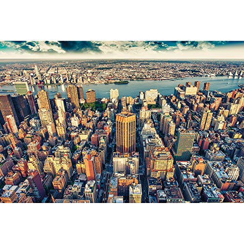 GREAT ART XXL Poster - New York Skyline - Wall Decoration City Picture Sunset in Manhattan America USA NYC Poster Metropole Wall Mural - 1 Piece (55 x 39.4 Inch / 140 x 100 cm) ()