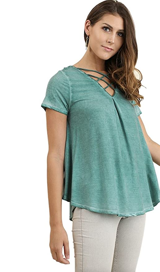 c09ca56d651 Umgee Women s Bohemian Mineral Washed Short Sleeve V Neck Tunic with  Strappy Neckline and Lace Back (Small