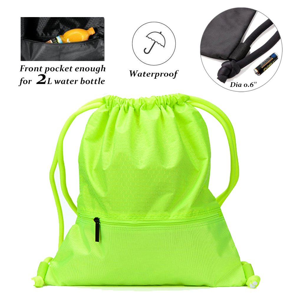 Peicees Drawstring Backpack Waterproof Sackpack Double Sturdy Sports Backpack 2 Sizes