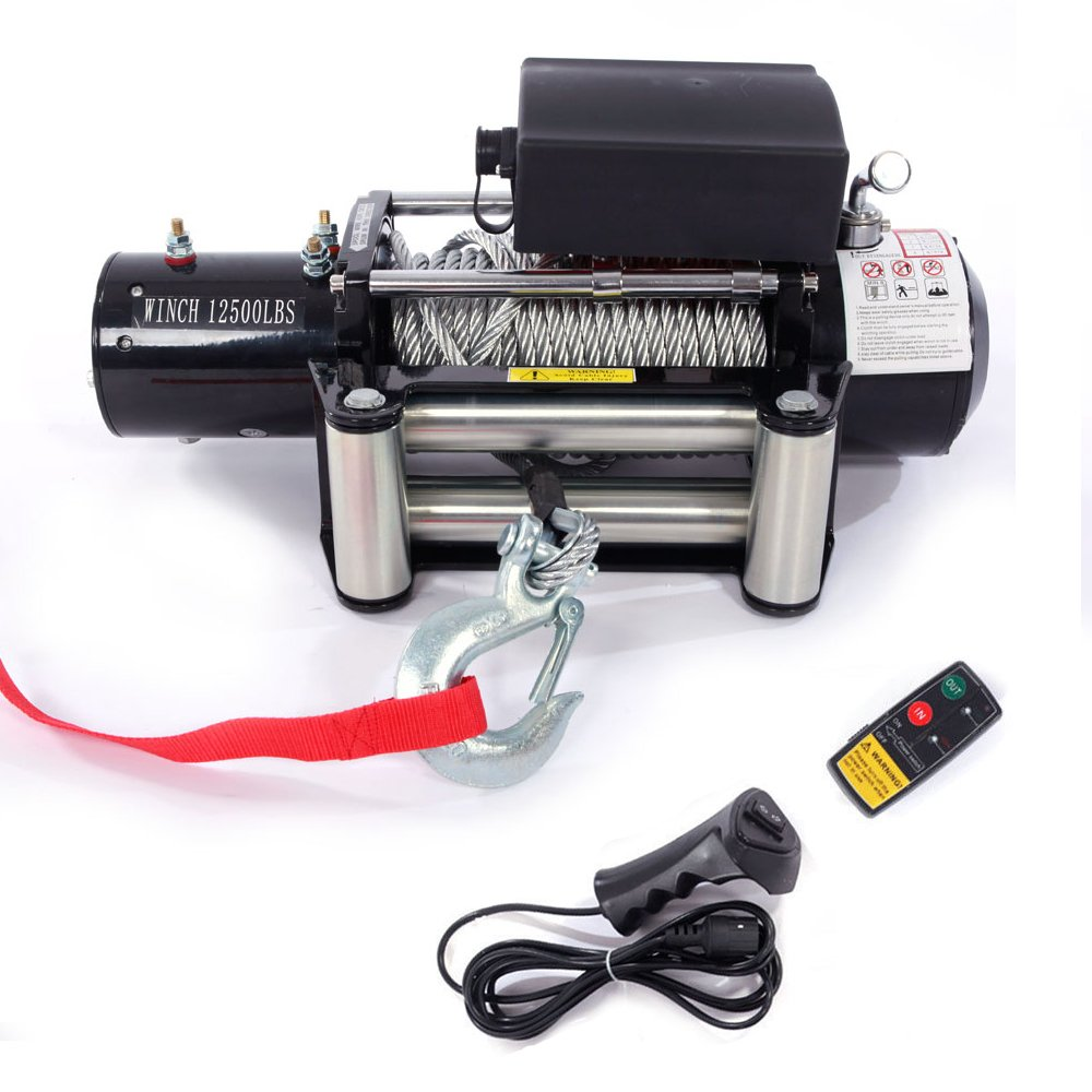 Electric Winch 12V 12500lbs Recovery Winch Trailer Truck Suv w/Wireless Remote Control Kit