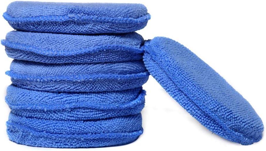 Blue Microfiber Wax Applicator Car Foam Wax Sponge Applicator Pads WildAuto blu, 6 pcs 10 PCS