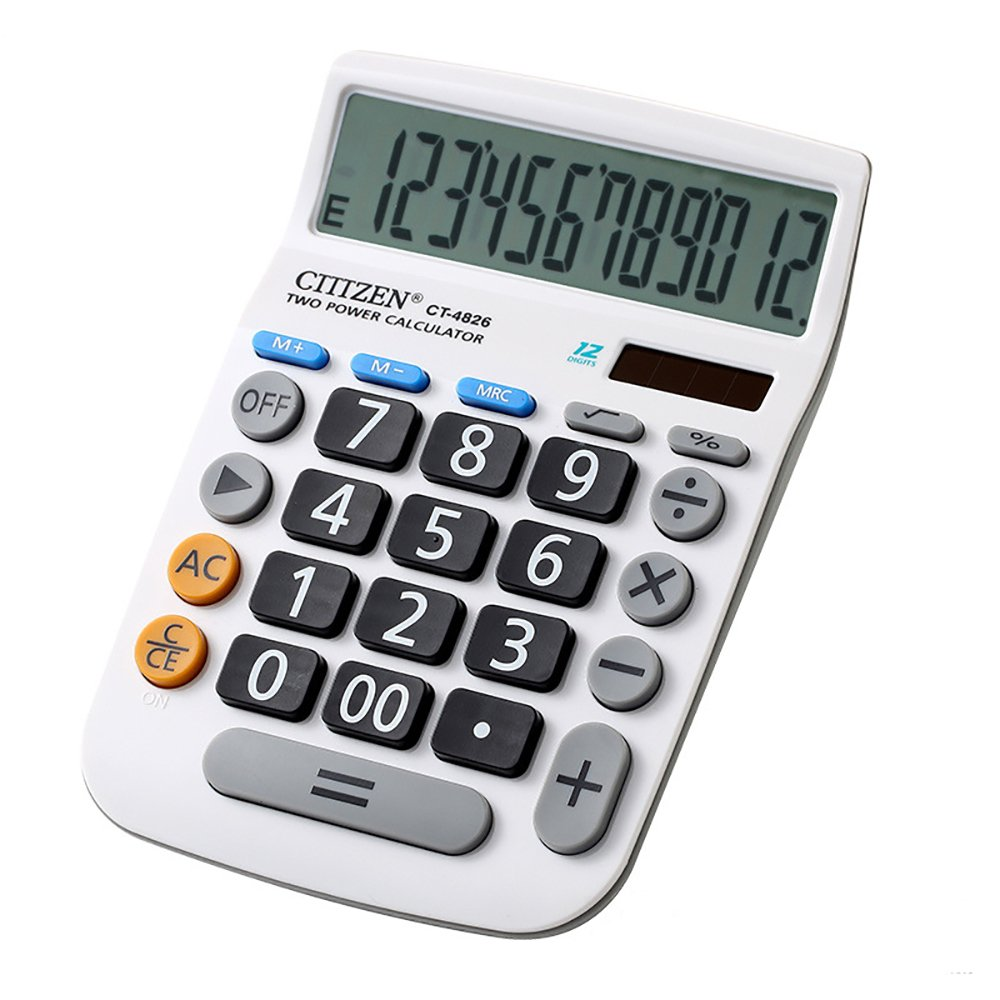 Electronic Desktop Calculator with 12-digit Large Display, Solar and Button Dattery Dual Power Standard 12-Digit Big Display Handheld Function Desktop Calculator (White 3) by LI-GELISI