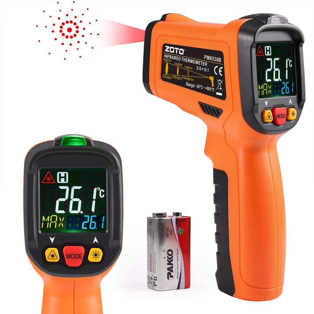 Digital Laser Infrared Thermometer,ZOTO Non Contact Temperature Gun Instant-Read -58℉ to 1022℉ with LED Display for Kitchen Cooking BBQ Automotive and Industrial PM6530B Thermometer (Red)
