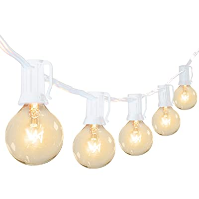 Brightown Outdoor Patio String Lights-100Ft G40 Backyard Lights with 100 5W Edison Clear Bulbs, UL Listed Waterproof Hanging Lights for Balcony Porch Bistro Party Decor, C7/E12 Socket, White : Garden & Outdoor