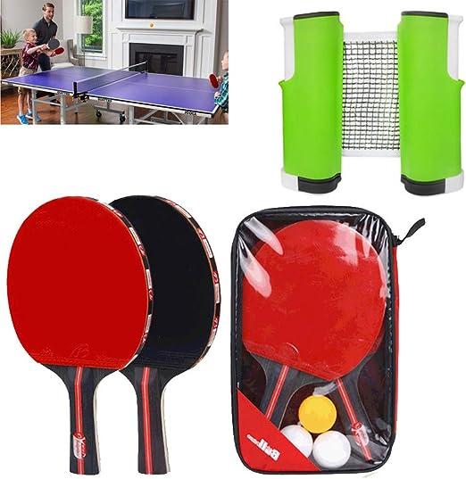 governingsoldiers Juego de Palas de Tenis de Mesa portátil,3 Pelotas de Ping-Pong + 2 Raquetas de Tenis de Mesa + 1 Red retráctil,para Jugar en casa o al Aire Libre: Amazon.es: Jardín