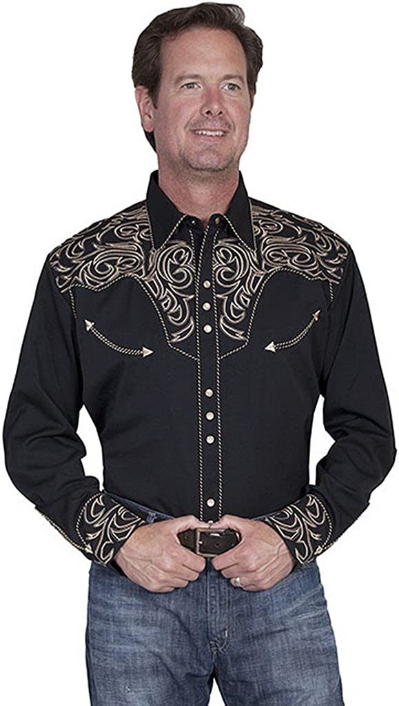 Scully Men's Embroidered Scroll Western Shirt Big Sizes (3XL and 4XL) - P-852X Blk