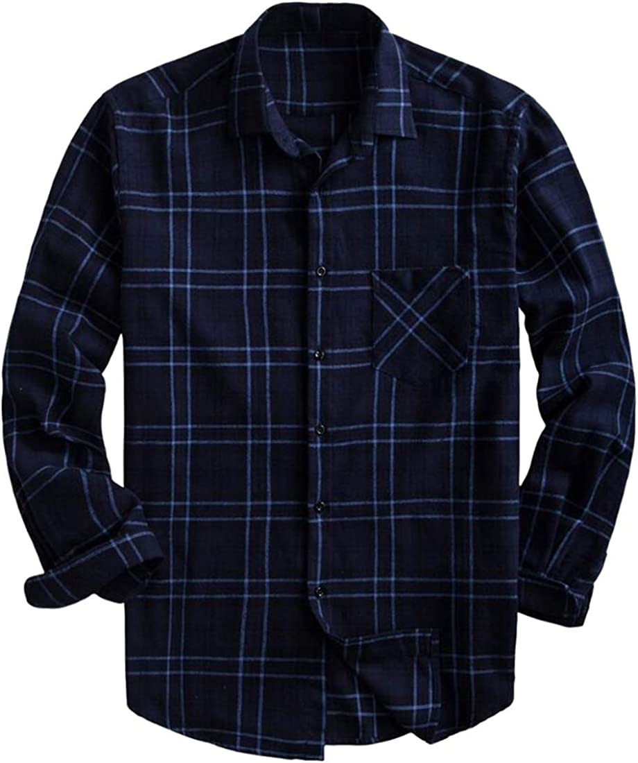 Domple Mens Long Sleeve Chest Pocket Formal Plaid Print Cotton Button Down Shirts Tops