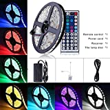 Sanwo 16.5ft Flexible RGB LED Strip Lights, Waterproof IP65, 300 Unites LEDs, 5050 SMD LED Ribbon with 12V Power Supply Adapter + 44Key Remote Controller (5050-RGB)