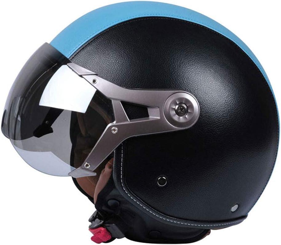 バイクヘルメット、ファッション、トレンディ、バッテリーカーの帽子、ファッションの安全性、ユニセックスヘルメット、電気自動車半カバー、四季レトロな女性の人格の冬、ファッション野生の人格は、UV保護を着用することができます (色 : 青) 青