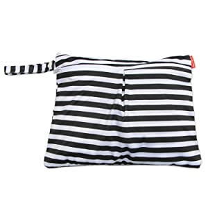 Damero Travel Wet and Dry Bag with Handle for Cloth Diaper, Pumping Parts, Clothes, Swimsuit and More, Easy to Grab and Go (Small, Black Strips)