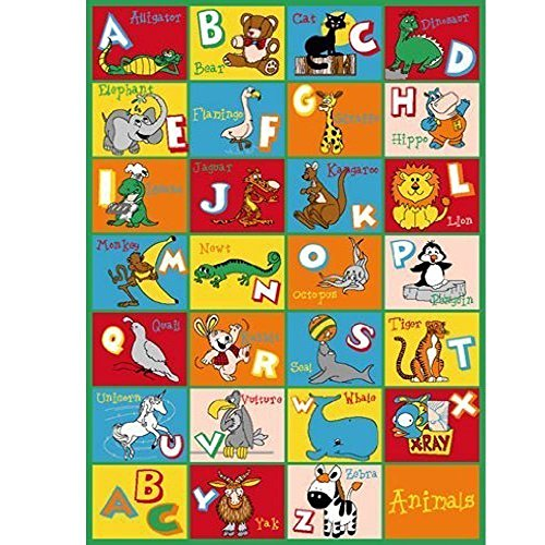 Kids / Baby Room / Daycare / Classroom / Playroom Area Rug. ABC Animals. Zoo. Educational. Fun. Non-Slip Gel Back. Bright Colorful Vibrant Colors (8 Feet X 10 Feet)