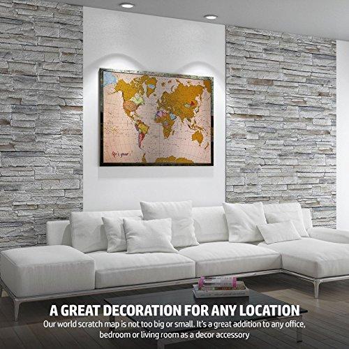 Amazoncom New Gold Scratch Off World Map Scratchable - Framed world scratch map