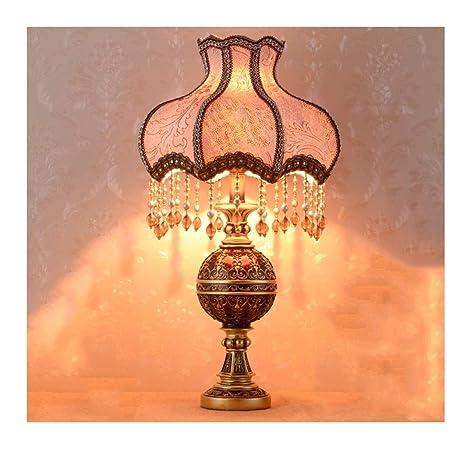 Amazon.com: WFTD Lámpara de mesa, estilo europeo, retro, de ...