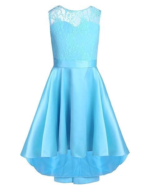 CHICTRY Vestido de Princesa Boda para Niña Vestido de Fiesta Vestido Flores de Encaje Chica Elegante