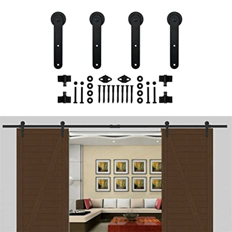 KIRIN Double Wood Barn Door Hardware 7 Feet Kitchen Interior Doors Round  Shape Classic Black