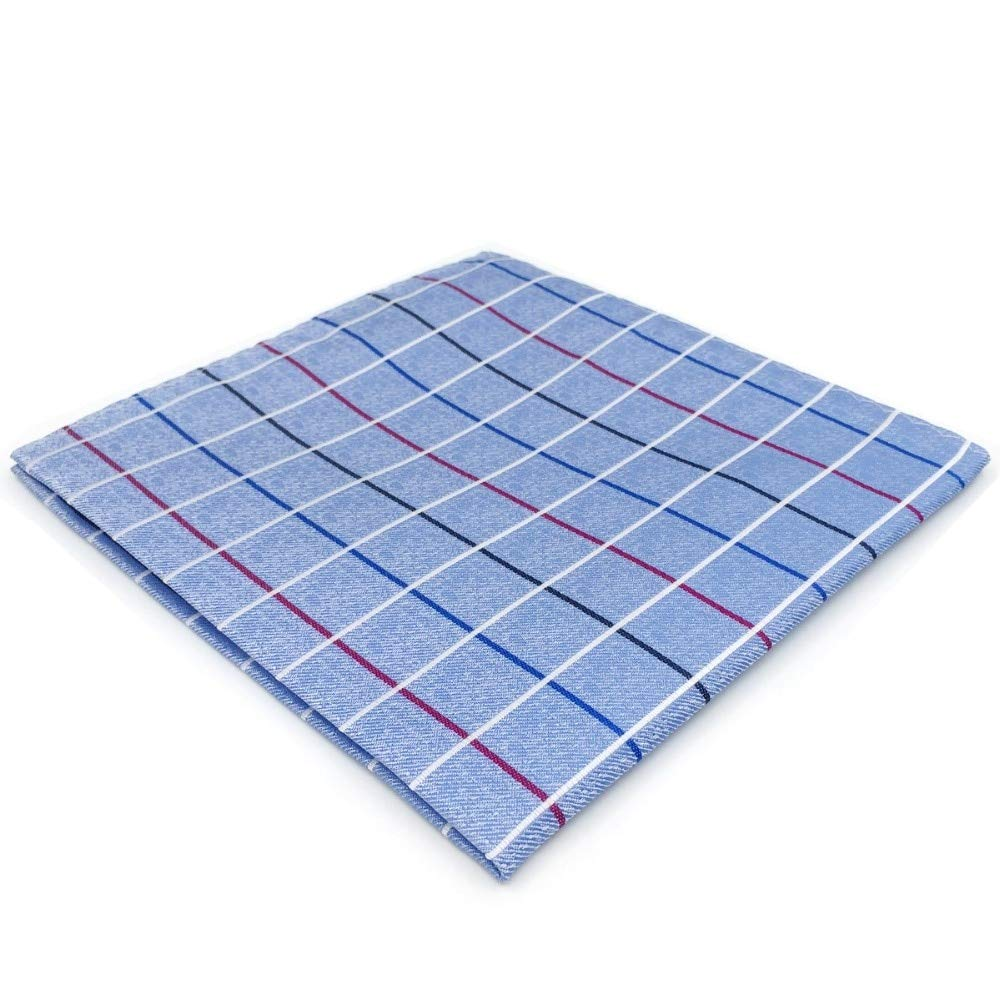 SHLAX& WING Blue Checkered Pocket Square for Mens Suit 12.6 Large Checks Handkerchief S&W SHLAX&WING EH36