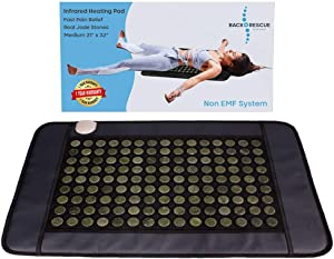 "Back Rescue XXL Far Infrared Heating Pads, Pain Relief That Works from 135 Real Jade Stones (not Cloth with Thin Wire), 21""x 32"", no EMF, FDA Cleared, 1 Year Warranty, Carry Bag"