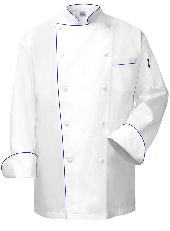 Newchef Fashion VIP White Chef Coat with Royal Blue Trim VIP Pocket 2XL White by Newchef Fashion