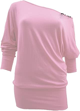 Crazy Girls Womens Long Sleeve Off Shoulder Plain Batwing Top