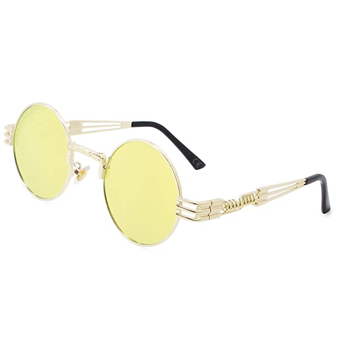 AMZTM Gafas de Sol Retro Steampunk Reflejado Gafas Redondo Vendimia Hippie para Mujer Y Hombre Lente Polarizada Marco de Metal Protección UV 400