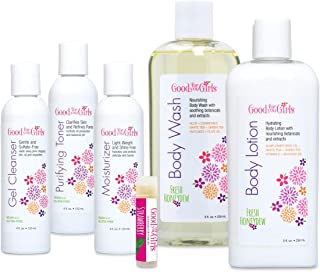 product image for Good For You Girls 5 Piece Face Care and Body Care Gift Set with FREE Lip Balm   Gel Cleanser, Purifying Toner, Moisturizer, Honeydew Body Wash, Honeydew Body Lotion, Organic Strawberry Lip Balm