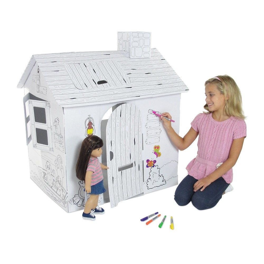 Emily Rose Doll Clothes Incredible Dollhouse or Kid's Play House, Ready to Paint and Decorate | Great Party Activity! (Safari House)