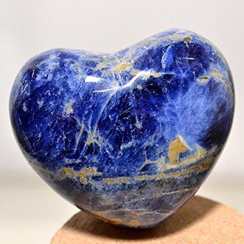 - 45mm Blue Sodalite Crystal Puffy Heart Quartz Stone Mineral Polished Gemstone Specimen Heart