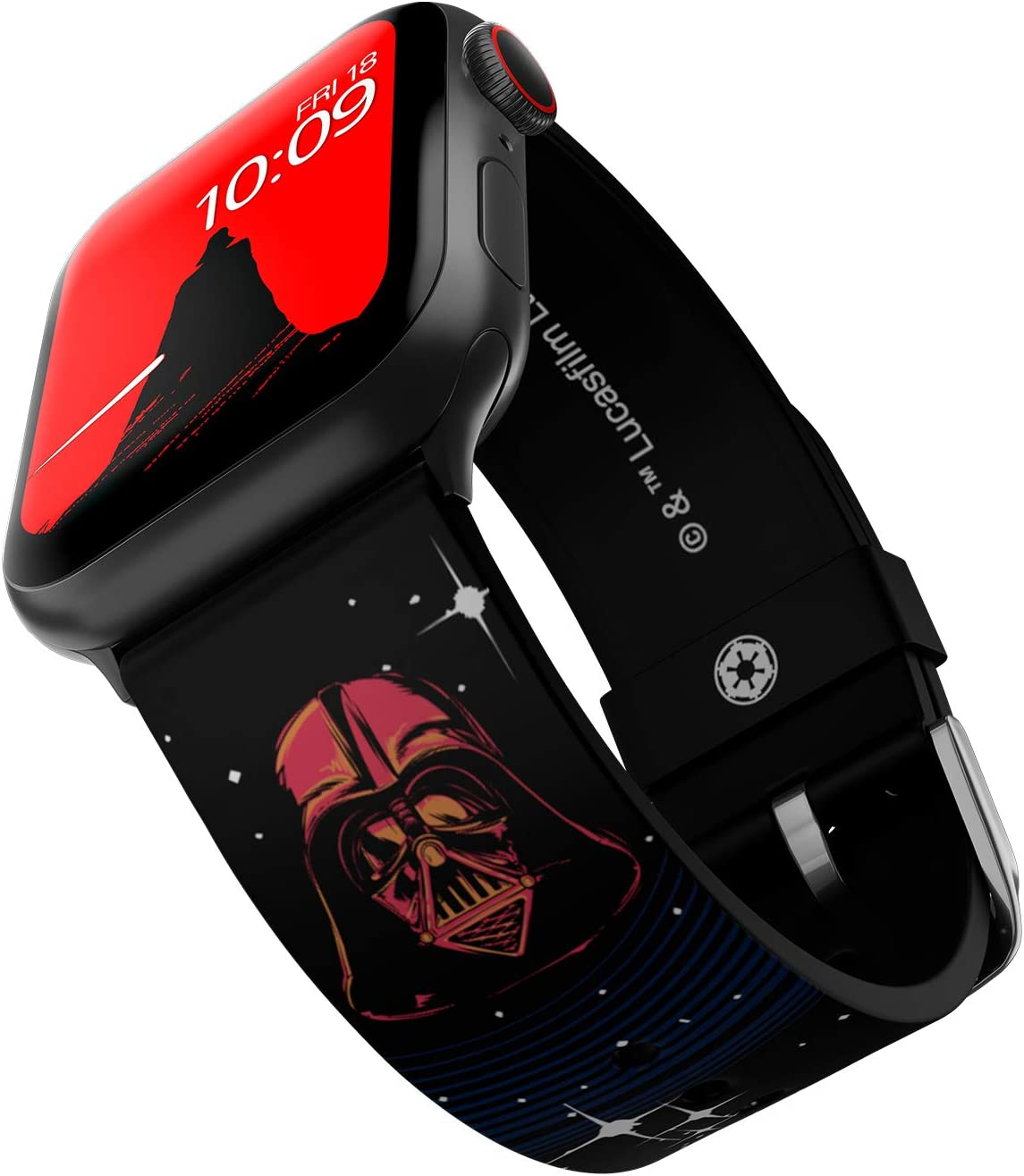 Star Wars - Darth Vader Edition – Officially Licensed Silicone Smartwatch Band Compatible with Apple Watch, Fits 38mm, 40mm, 42mm and 44mm