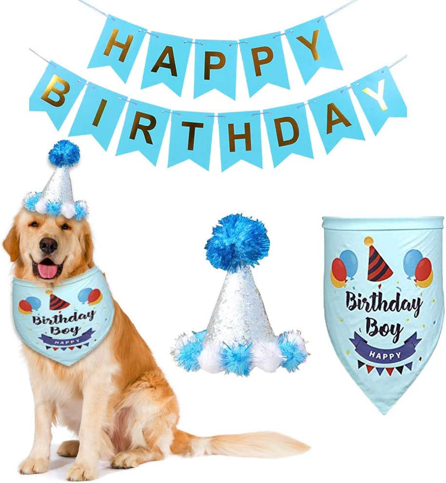 Amazon Com Tvmall Dog Birthday Bandana Hat Banner Set Dog Boy Girl Triangle Scarfs With Crown Hat Cute Party Hat For Pets Blue Pet Supplies