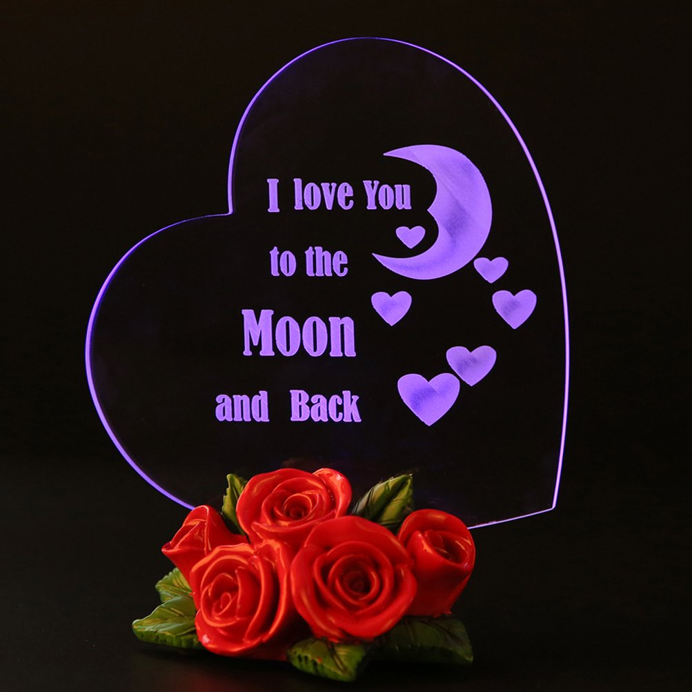 Led Heart Shaped I Love You To The Moon And Back Gifts For