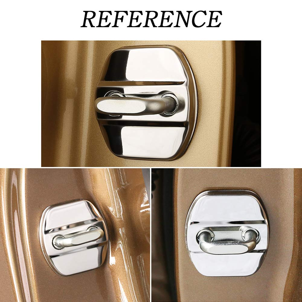 1797 Compatible Door Latch Lock Cover for Nissan Accessories Parts Rogue Altima Sentra Versa Maxima Titan NV200 Interior Buckle Caps Logo Decal Sticker Decorations Stainless Steel Silver Pack of 4