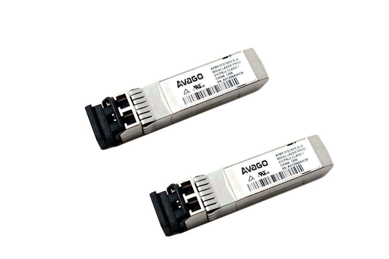 Lot of 2 Avago AFBR-57D7APZ-ELX 850nm Multimode SFP Optical Transceiver