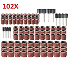 102pcs 120 Grit Drum Sanding Kit With 1/2 3/8 1/4 Inch Sanding Mandrels Fit Dremel Rotary Tools