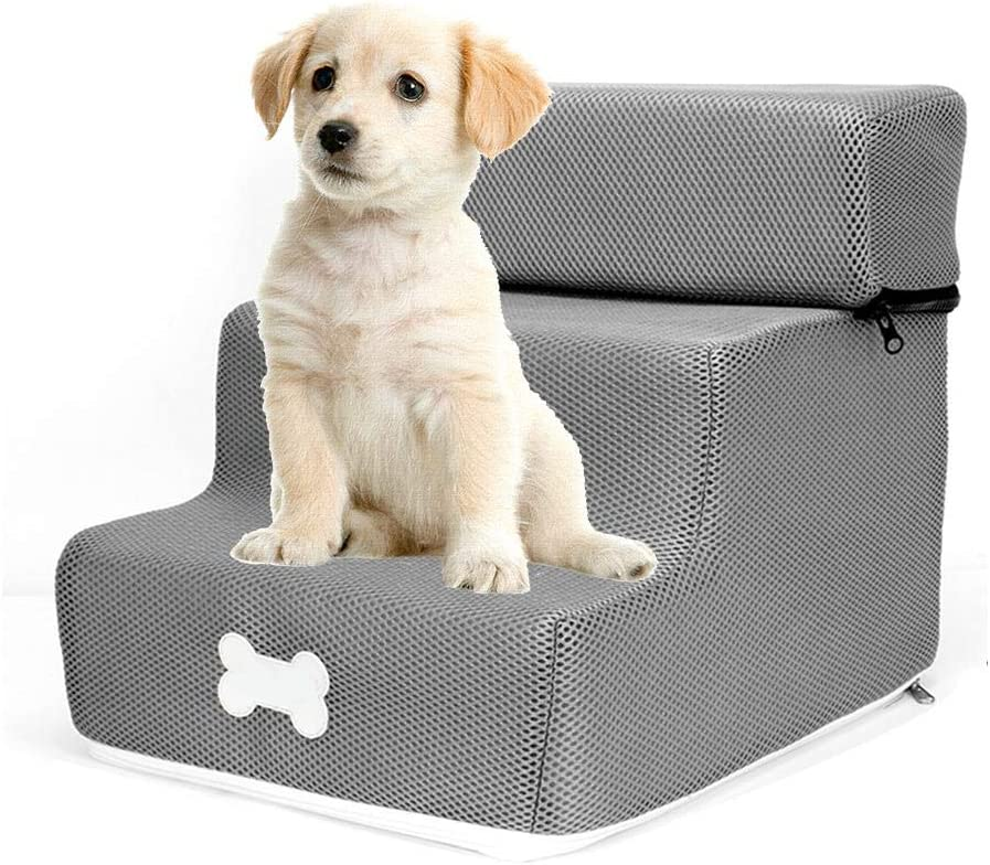 globalqi-homeland Escalera para Mascotas Desmontable Equipo para Mascotas súper Suave para Gatos y Perros en Tres escaleras Desmontables y Lavables