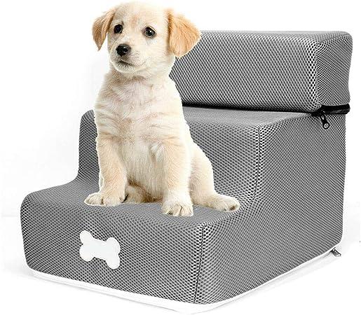 Maliyaw Escaleras extraíbles para Perros Escalera Suave para Mascotas Desmontable de Tres Pisos para Perros y Gatos, Escalera de Cama para Mascotas de 3 Pasos: Amazon.es: Hogar