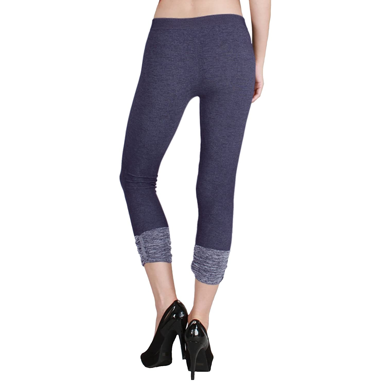 d1ffc40fe886eb Nikibiki Thick Two Tone Shirring Capri Leggings Made From 92% Nylon and 8%  Spandex (Black) at Amazon Women's Clothing store: