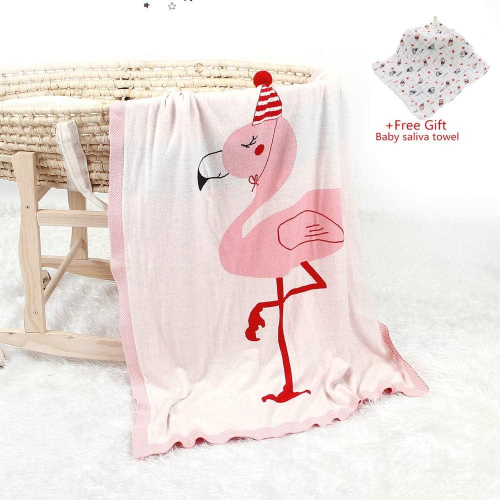 Odot Manta de Punto para Bebé Recién Nacido Flamenco, Algodón Suave y Cálida Punto de Crochet Cobija Toalla de Cama Niños Swaddle para Bebé Cuna, Cochecito y Silla de Paseo (100 * 80cm,Beige)