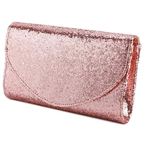Envelope Bag Purse Anladia Wedding PU Clutch Womens Evening Bridal Glitter Gold Shiny Rose Handbag BvqXT