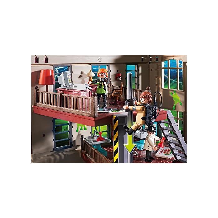 61kGX8vIh5L Diversión para pequeños cazafantasmas: PLAYMOBIL Cuartel Parque de Bomberos de los Cazafantasmas con múltiples figuras, accesorios y funciones con gran detalle Trampa para fantasmas con bisagra, mochila de protones extraíble, poste deslizante y mucho más, múltiples habitaciones como el laboratorio, la oficina y el garaje para el Ecto-1 (9220) Juego de figuras para niños a partir de 6 años: óptimo para el tamaño de sus manos y bordes redondeados agradables al tacto